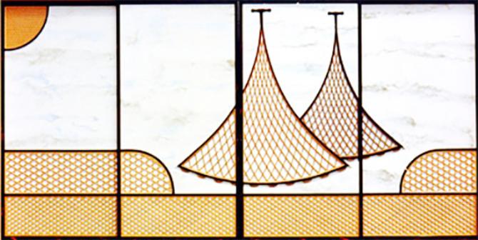 左側の干し網は、見付け違い面取り干し網。右側の干し網は、見付け違い塵返し干し網。